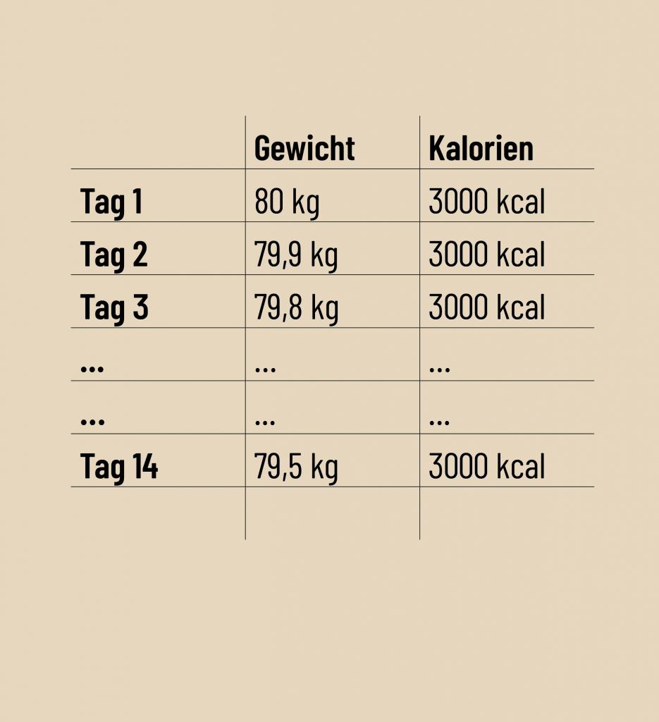 Gewicht Kalorien Übersicht